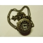 Hollow Engraving Pocket Watch with Necklace Chain