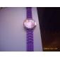 Women's Chrysanthemum Style Dial Silicone Band Quartz Analog Wrist Watch (Purple)