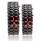 black metal strip lava digital estilo de ferro esporte par led vermelho relógio de pulso sem rosto