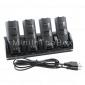 4-Port USB estación de carga + pilas recargables 4x1800mah para Wii / Wii U remoto (negro)