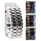 Silvery Metal Strip Digital Lava Style Iron Sport Womens Blue LED Faceless Wrist Watch Cool Watch Unique Watch