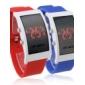 paire de silicone, bande rouge montre-bracelet à LED (bleu et rouge)