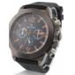 男性用 黒いシリコーンベルト スポーツ PC クォーツ腕時計