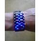 Unisex Blue LED Lava Style Black Steel Band Wrist Watch Cool Watch Unique Watch