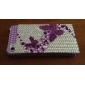 Etui Rigide de Protection  à Strass pour iPhone 4/4S - Papillon Violet