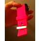 Silicone Band Women Men Unisex Jelly Sport Style Square Mirror LED Wrist Watch - Peach Red Cool Watches Unique Watches