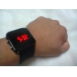 Herren Armbanduhr digital LED / Kalender Silikon Band Schwarz Marke-