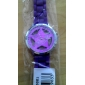 Hollow Out Star Pattern Design Unisex Quartz Wrist Watch with Crystal Decoration - Purple