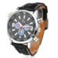 Men's Casual Style Colorful Dial Black PU Band Quartz Wrist Watch
