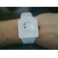 unisex criativo de dois pontos de marcação silicone banda quartzo relógio de pulso analógico (branco)