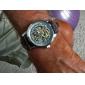 Automatische Herren PU-Leder-Armbanduhr mit hohlen Gravur