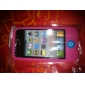 Розовый мягкий силиконовый чехол для iPhone 4