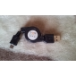Retractable USB to Micro USB Cable (Black) 0.6M