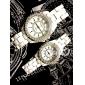 Paar modische Metall-Analog-Quarz-Armbanduhren mit Brillanten (weiß)