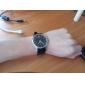 Japanese PC Movement Black PU Band Wrist Watch Silver Case Black Dial