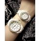 Pair of Fashionable Metal Analog Quartz Wrist Watches with Diamonds (White)