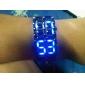 גברים שעוני ספורט דיגיטלי LED / לוח שנה מתכת אל חלד להקה שעון יד שחור
