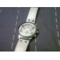 Fashion Korea PU Leather Band Style Handsome Quartz Men Women Wrist Watch - White
