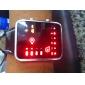 Orologio binario LED, unisex, cinturino in pelle PU - Nero