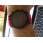 남성과 여성의 실리콘 아날로그 석영 손목 시계 (적색)