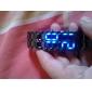 유니섹스 파란지도 용암 작풍 검정 강철 밴드 손목 시계