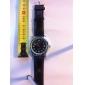 japanese pc movimento negro couro banda relógio de pulso de discagem caso prata preto