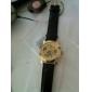 Reloj Pulsera de Mecanismo Visible, con Gravados Dorados - Correa Negra