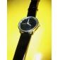 Elegante Reloj Pulsera Quartz Con Correa Negra de Cuero PU