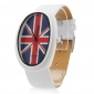 Unisex PU Analog Quartz Wrist Watch with Flag Logo (White)