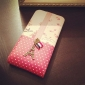 Metal Tower Design Full Body Flip Case for iPhone 4 and 4S (Pink and Red)