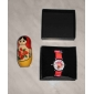 Children's Cartoon Dolphin Style Silicone Analog Quartz Wrist Watch with Flashing LED Light (Red)