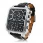 Argus panoptes - mężczyzna zegarka ruch wojskowy plac triple-skórzany pasek tarcza