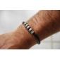 кожаный браслет eruner®men с пятью титана стальные кольца (черный)