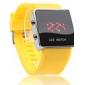 unisex Digital LED quadrado caso amarelo silicone banda relógio de pulso