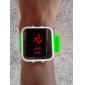 unisex Digital LED vermelho quadrado caixa verde silicone banda relógio de pulso