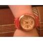 Reloj Pulsera Quartz Con Correa Ancha de Cuero PU Roja, de Moda Unisex