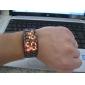 Relogio de pulso digital estilo Lava com LED vermelhos e pulseira preta de metal