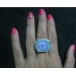 kvinnors lila boetten konstruktion legering analoga kvarts ring klocka (silver)