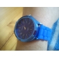 Women's Chrysanthemum Style Blue Silicone Band Quartz Wrist Watch