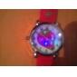Montre à Quartz Style Fraise pour Enfant, Affichage Analogique, en Silicone, Avec Lumière LED Clignotante - Rouge