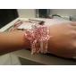 lureme®alloy pulseira de tecido de múltiplas camadas cor de rosa banhado a ouro pulseira