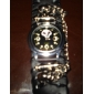 Unisex Skeleton PU Analog Quartz Wrist Watch (Black) Cool Watch Unique Watch