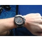 Men's Casual Style Black Case Silicone Band Quartz Wrist Watch