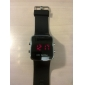 Men's Watch Red LED Digital Square Dial Silicone Strap
