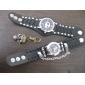 militaire bande noire en cuir au poignet la montre à quartz avec boîtier démontable