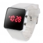 Silicone Band Women Men Unisex Jelly Sport Style Square LED Wrist Watch - Brown