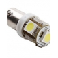 BA9s 1w 5x5050 smd hvitt lys LED-pære for bil (12V DC, 2-pack)