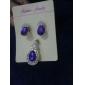 z&x® cœur aimant bleu onyx entièrement pierreries boucle d'oreille et bijoux pendentif ensemble