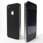 Carbon Fiber Cover Sticker For iPhone 4/4S - Black