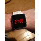 Unisex Red LED Digital Square Case White Silicone Band Wrist Watch